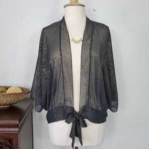 Chico's Sheer Cardigan Shrug With Bottom Tie, 1